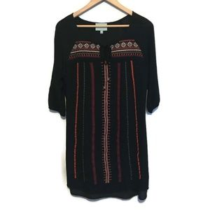 Skies are Blue Black Embroidered 3/4 Sleeve Dress